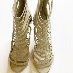 Shoes - Caged High Heels Beige Suede Heels